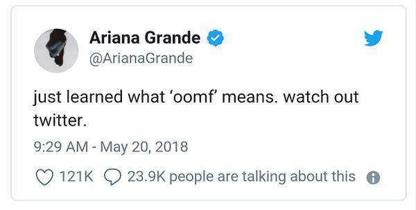 """""""我的一位粉丝""""缩略语oomf"""