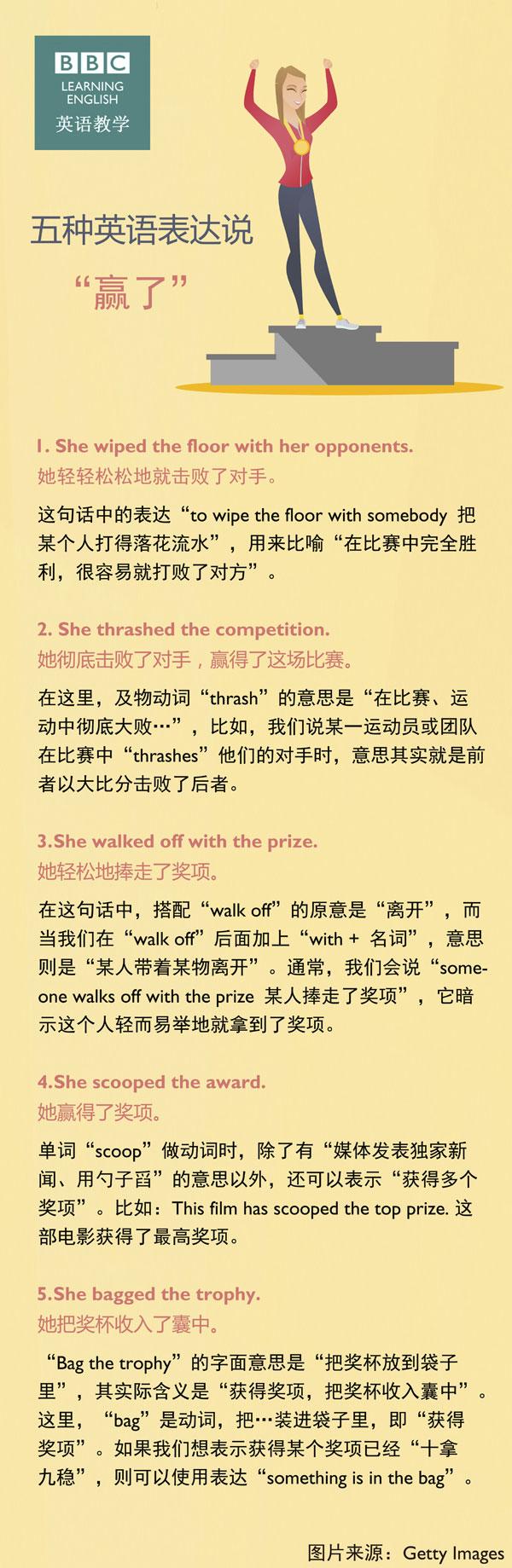 """五种英语表达说""""赢了"""""""
