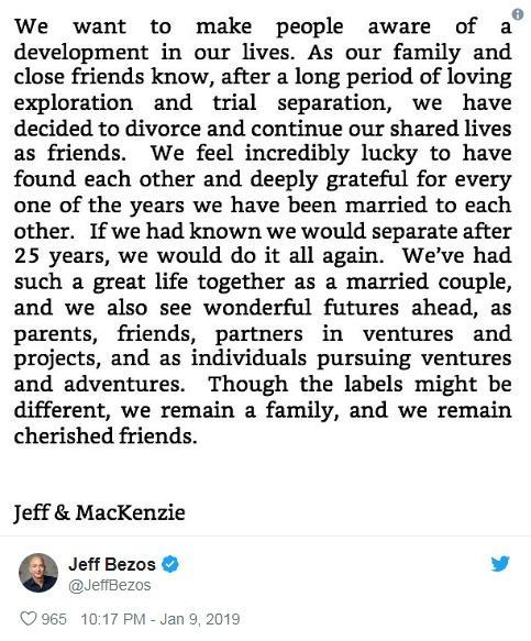 全球首富贝佐斯宣布离婚