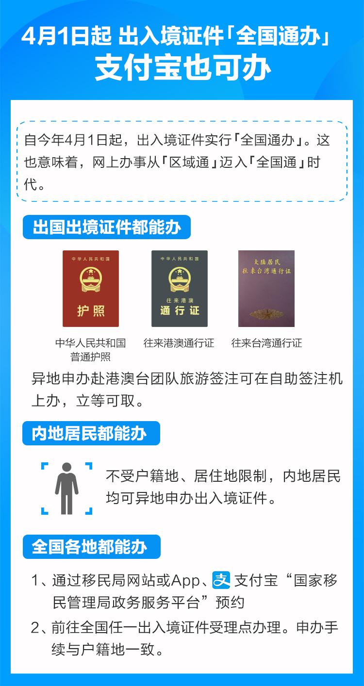 """4月1日起内地居民申领出入境证件""""全国通办"""""""